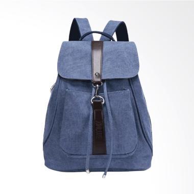 Martinversa TRW5 Backpack Kanvas Tas Impor Ransel Wanita - Dark Blue