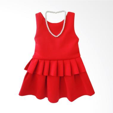 GBS Stelan V Black Ribbon Neklace Setelan Dress Anak Perempuan - Red