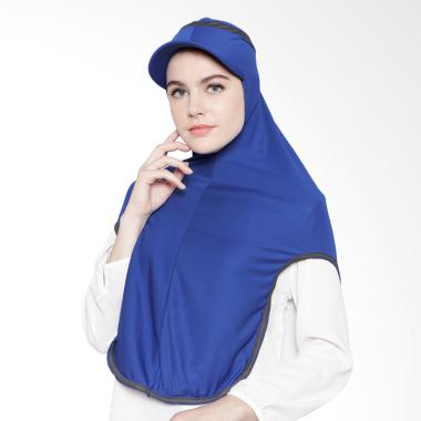 ATTIQAHIJAB  Long Runner Jilbab Instant - Blue List Grey