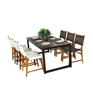 Pine Rotan Furniture 01 Dining Set Meja Makan - Dark Brown