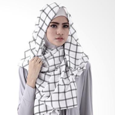 LAMAK Monocrom Grid Pasmina - White Black