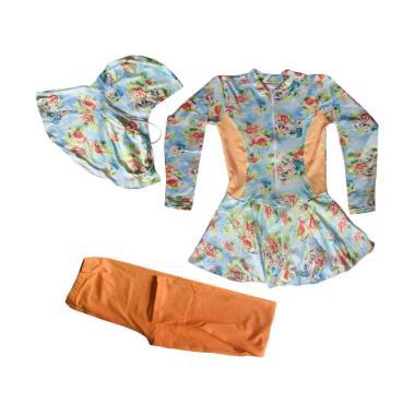 Rainy Collections Bunga Baju Renang ... - Biru Salem [5-11 Tahun]