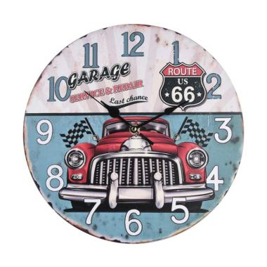 BiruTua Retro Route 66 Wall Clock