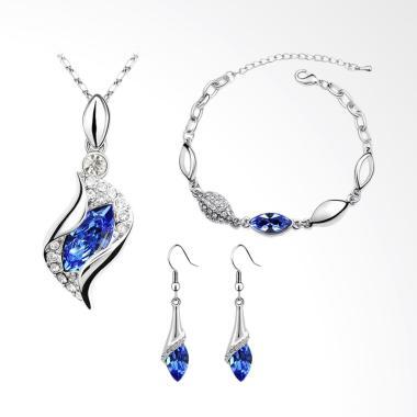 CANNICE Austrian Vintage Set Perhiasan Wanita - Blue Saphire