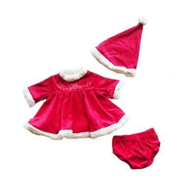 Christmas 3in1 Dress Baby Topi dan Celana Dalam - Red