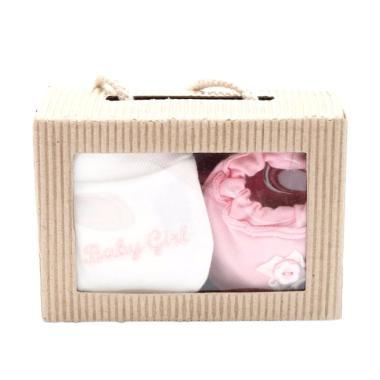 Cribcot Booties Rib Baby Pink Broke ...  White Baby Pink Gift Set