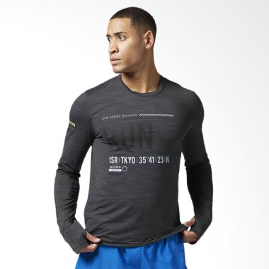 Reebok One Series Run Long Sleeve M ... aga Pria - Black [BK7330]