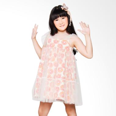 Coterie Flower with Full Tulle Dress Anak - Orange