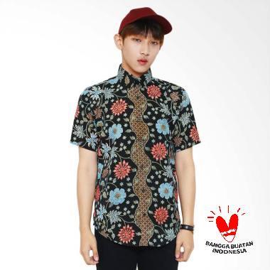 Flike Store Flower Addiction Kemeja Lengan Pendek Pria
