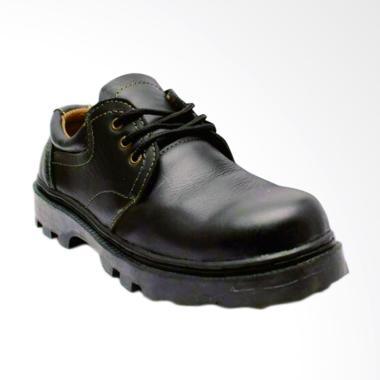 Handmade Kulit Sepatu Safety Boot - Hitam