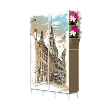 Risen London Coffee Portable Lemari Pakaian - Cokelat