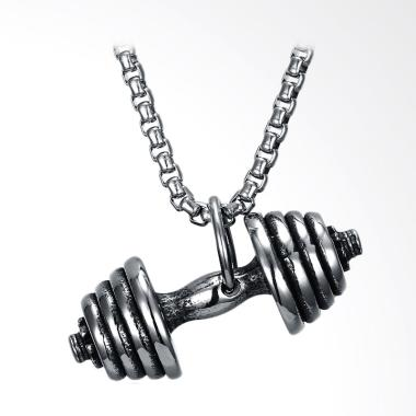 SOXY Dumbbell Shape Titanium Steel Necklace - Silver [GMYN151]