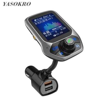 harga Color Display Bluetooth Car Kit 3 USB Port QC3.0 Car Charger FM Transmitter Car MP3 Music player Blibli.com