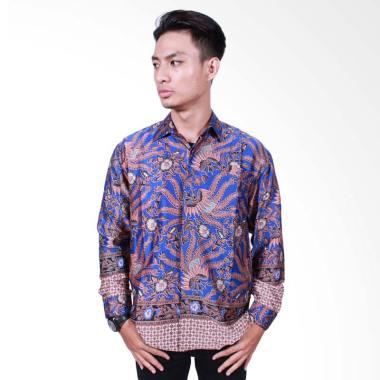 Batik Putri Ayu Solo Kemeja Batik Pria Lengan Panjang - Biru [KPJ501]