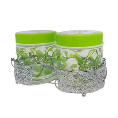 Kim Glass Canister Set Toples with Rack Stainless