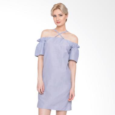 Heart and Feel 1280.D Stripped X-Front Shift Dress Wanita - Blue