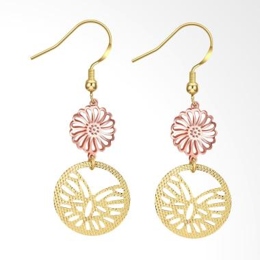 SOXY KZCE232-A Round Hollow Romantic Lady Earrings - Gold