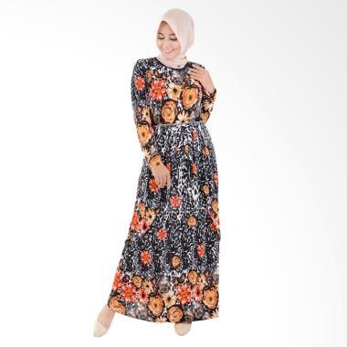 Jfashion Corak Bunga Maxi Long Dress Gamis Muslim - Fatimah Orange