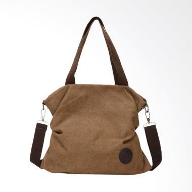 Women Canvas Messenger Beach Shoulder Satchel Bag Tas Wanita - Coffee