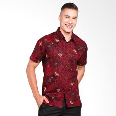 Batik Waskito Slim Fit Kemeja Batik Pria - Red