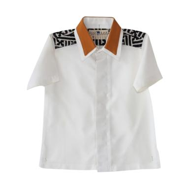 Birama 9178 Kemeja Polos Anak Laki-Laki - Putih Hitam