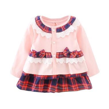 VERINA BABY Kotak Kotak Uniform Setelan Pakaian Anak - Pink