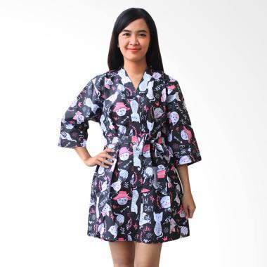 Aily ALY028 Kimono with Belt Setelan Baju Tidur Wanita - Hitam