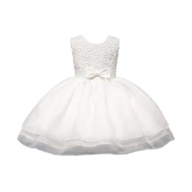 VERINA BABY Brukat Variasi Ribbon Dress Pesta Anak - Putih