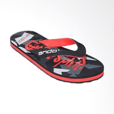 Ando Sandal Jepit Pria - Black Red [VIP 02]