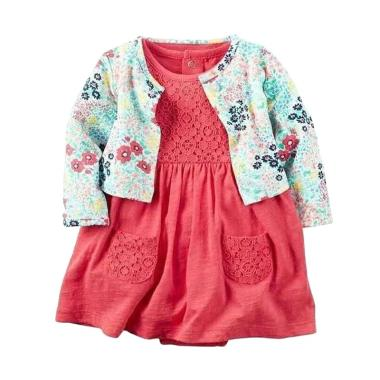 Carter's C10 Dress with Flower Cardigan Jumper - Red