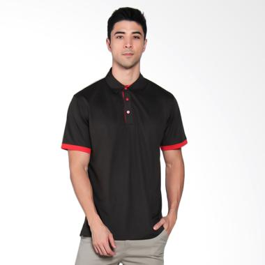 Svingolf Grid Golf Polo Shirt Pria -  Black Red