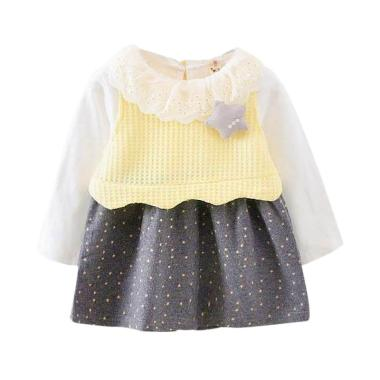 VERINA BABY Star Tangan Panjang Plu ... t Set Dress Anak - Kuning