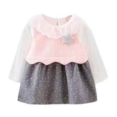 VERINA BABY Star Tangan Panjang Plus Rompi Rajut Dress Anak - Pink