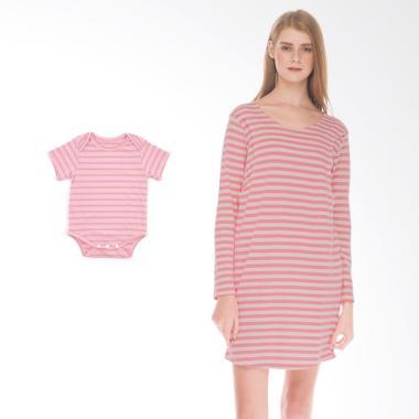 Mooimom Comfort Stripe Long Sleeves ... il Menyusui & Anak - Pink