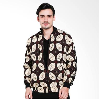 Batik Distro Panjang Strip Jaket Pria - Coklat [T1219]