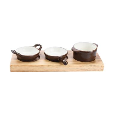Cooks Habit Wooden Serving Board with Platter Set Perangkat Saji