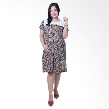 Mama Hamil BTK 159 Batik Pita Sherina Dress Hamil & Menyusui - Coklat