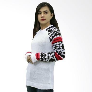 DEcTionS Tribal Ashanty Lengan Vintage Sweater Rajut Wanita - White