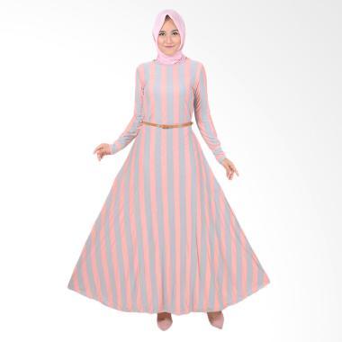 Jfashion Khanza Maxi Corak Salur Long Dress Gamis Wanita - Krem