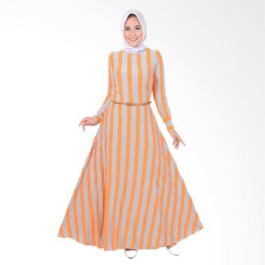 Jfashion Khanza Maxi Corak Salur Long Dress Gamis Wanita - Orange