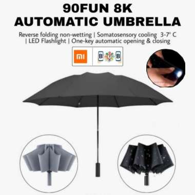 harga Jual 90FUN Automatic Umbrella With Flashlight - Payung Lipat Senter - Abu-abu Berkualitas Blibli.com