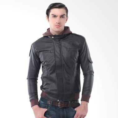 Alphawear Leather Biker Hoodie Jacket Pria - Brown