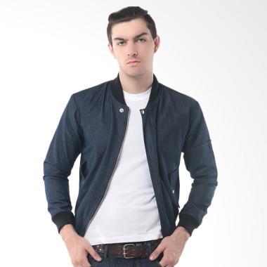 Alphawear Denim Style Jaket Bomber Pria - Biru