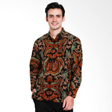 Trisula Mas Kemeja Batik Pria Lengan Panjang - Black Brown [13]