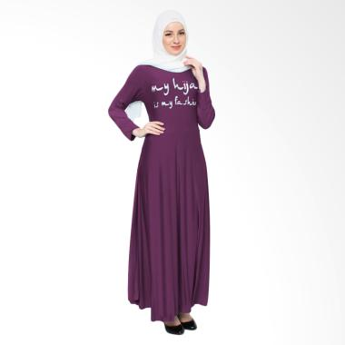 Jfashion Maxi Tangan Panjang Print  ... n Long Dress Gamis - Ungu