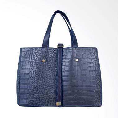 Bellezza MS-E200 Leather Saffiano Hand Bag - Navy