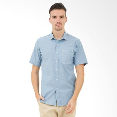 Tendencies Unsync Oxford Kemeja Pendek Pria - Light Blue