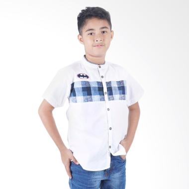 Kids Icon Batman Collar Stand Shirt Atasan Anak Laki-Laki
