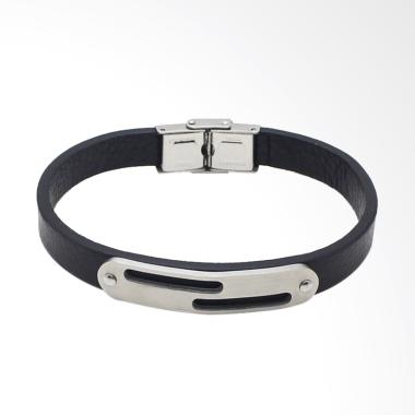 VERNYX Plate Shard Leather Gelang Pria - Black [GLT6609]