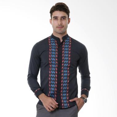 VM Koko Muslim Slimfit Baju Kemeja Pria Tangan Panjang - Hitam